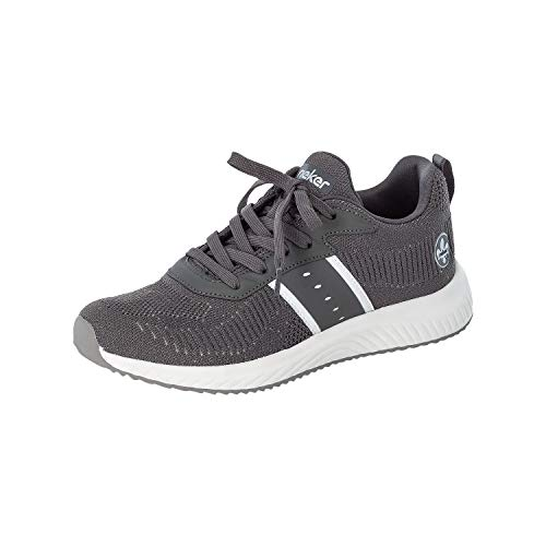 Rieker Damen Sneaker, Frauen Low Top Sneaker, Halbschuh strassenschuh schnürschuh sportschuh Freizeit,Grau-Silber,40 EU / 6.5 UK