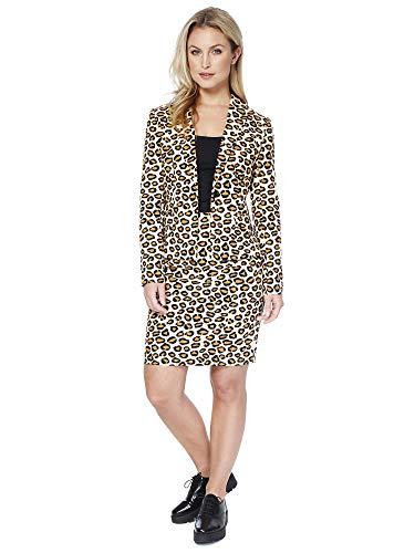 OppoSuits Damen Anzüge mit bunten Prints - Komplettes Set mit Bleistiftrock und Jacke,Größe:US10/ UK 14 / DE 40,Lady Jag