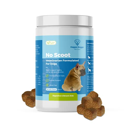 Happo Doggo Anal Gland Sac Pro Fiber Supplement Soft Chews With Pumpkin, Digestive Enzymes & Probiotics for dogs – Vet Recommended All Natural - No Scoot, Stop Itching 360g Chicken & Liver Flavour