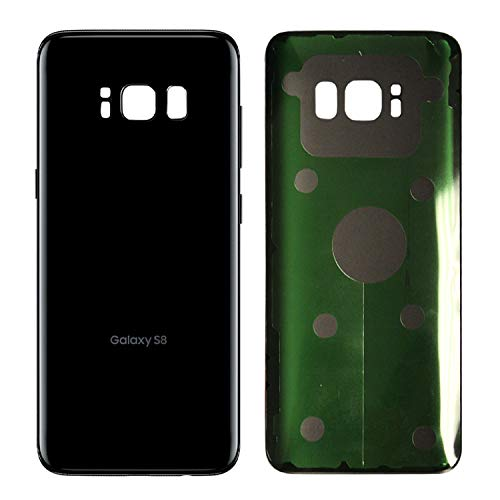 Original Replacement Back Glass Cover Back Battery Door w/Pre-Installed Adhesive Samsung Galaxy S8 OEM - All Models G950 All Carriers OEM Replacement (Black)