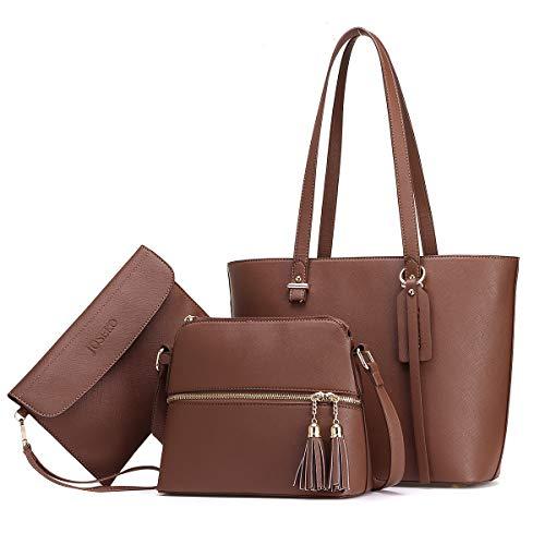 JOSEKO Handtasche Damen Tasche Damen Shopper Damen Groß Schultertasche Handtaschen Damen Groß Designer Elegant Umhängetasche Damen 3-teiliges Set Geeignet zum Einkaufen und Dating Braun