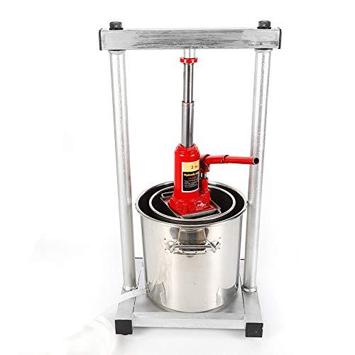 Fruit Wine Press,12L Stainless Steel Fruit Crusher Pulp Apple Cider Wine Juice Press Grinder Hydraulic Jack
