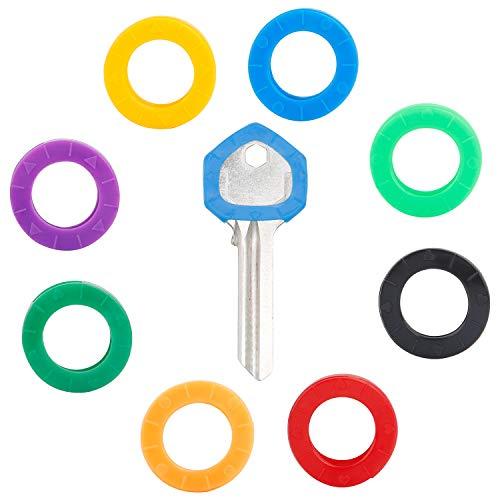 Uniclife 24 Stück kleine 2 cm Schlüsselkappen, Kennzeichnungsringe aus Kunststoff, in 8 verschiedenen Farben
