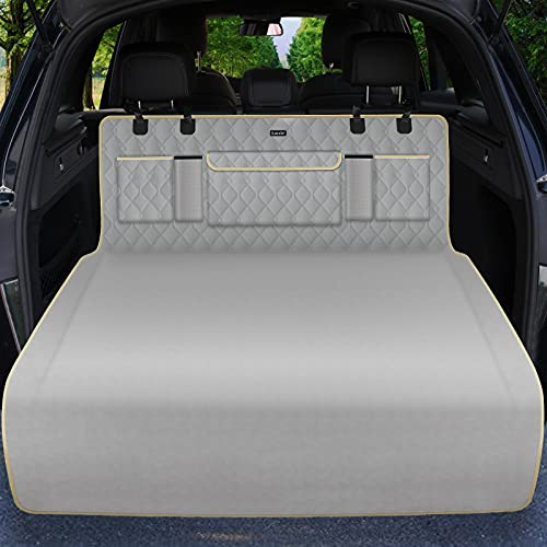 Lassie SUV Cargo Liner for Dogs with Storage Bags 100% Waterproof SUV Dog Cover for Cargo Area, Dog Trunk Cover with Bumper Flap Protector, Machine Washable Pet Seat Covers for Back of SUV, Truck