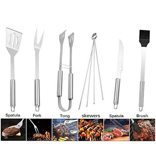Bbq-gereedschapset Bbq 9-delig, Accessoires Roestvrijstalen Barbecuegereedschapset Premium Bbq-accessoireset Voor Kamperen Ideale Spatel, Vork, Rijgborstel, Tang Essentiële Bbq-gereedschappen