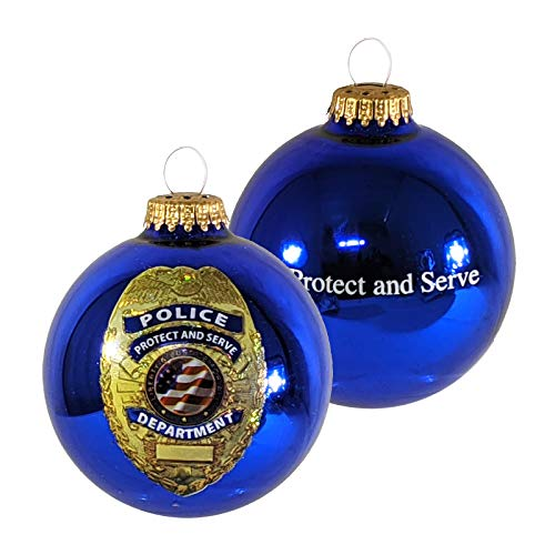 Christmas by Krebs Made In The USA First Responders Glass Ball Keepsake Christmas Ornament, 3 1/4' (80mm), Police Department