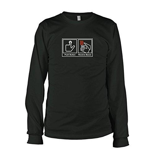 Texlab - Push Button Receive Bacon - Langarm T-Shirt, Herren, Größe L, schwarz