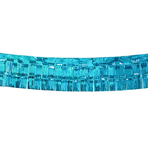 10 Feet by 15 Inch Turquoise Foil Fringe Garland, Shiny Metallic Tinsel Banner Ideal for Parade Floats, Bridal Shower, Bachelorette, Wedding, Birthday, Christmas - Wall Ceiling Hanging Fringe Drapes