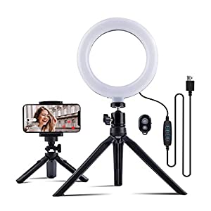 """MUSON LED Selfie Ring Light with Tripod Stand & Phone Holder, 6"""" Desktop Ring Lights with Dimmable 3 Light Modes & 11 Brightness Light, Bluetooth Remote for YouTube, Live Streaming, Zoom Meeting Calls"""