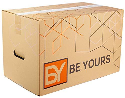 BEYOURS Packung mit 20 Umzugskartons mit Griffen - 430x300x250 mm - Ultrabeständige Umzugskartons - ÖKO-FREUNDLICHE Aufbewahrungskartons - Hergestellt in Spanien