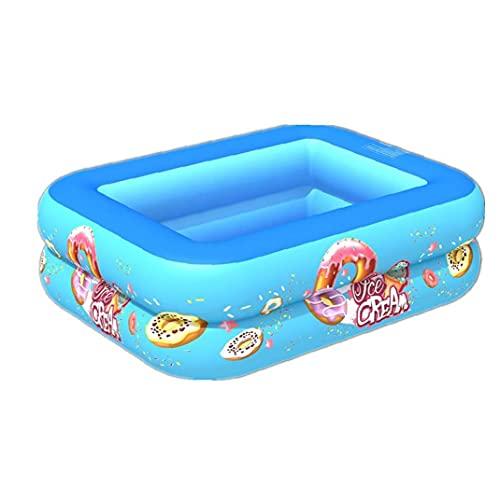 Opblaasbaar zwembad, 2-laags vierkante kinderen zomer blow-up peddelen zwembad, blauw 120cm, baby badpool,