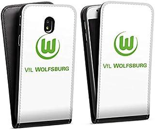 DeinDesign Flip Case kompatibel mit Samsung Galaxy J3 Duos 2017 Tasche Hülle VFL Wolfsburg Offizielles Lizenzprodukt Logo