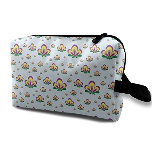 Art Deco Flower Aqua Toiletry Bag Cosmetic Bag Portable Makeup Pouch Travel Hanging Organizer Bag for Women Girl 10x5x6.2 inch