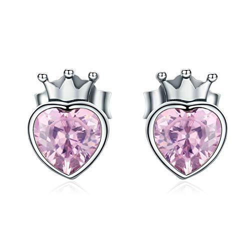 QY-Youth Auténtico 925 Plata esterlina Dulce Rosa corazón de Corona Pendientes de Perno para Mujer Joyería de Plata de Lujo Bijoux Regalo