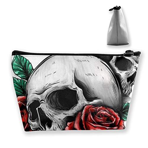 Trousse de maquillage portable Motif têtes de mort et roses