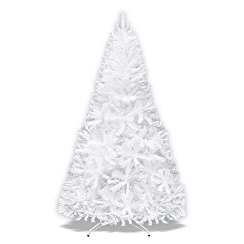 Strong Camel Artificial Christmas Tree Spruce Tree with Metal Stad for Holiday Decoration-White (7.5')