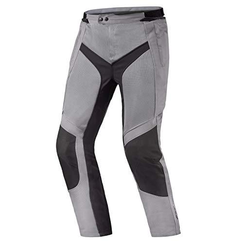 SHIMA JET Pantalon Moto Hombre - Pantalones Moto Touring de Verano de Mesh Textil Hombres con Membrana Impemeable, Prottecion CE de Rodilla (Gris, S)