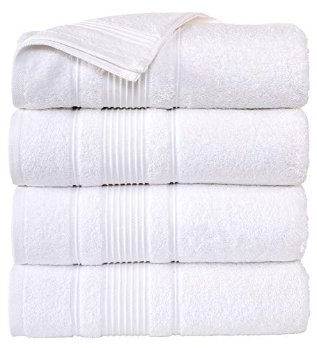 """Cappadocia Collection White Bath Towels 4 Piece Set 100% Cotton Luxury Quick Dry Turkish Towels for Bathroom Guests Hot Tub Pool Gym Camp Travel College Dorm Hotel Quality Soft and Absorbent 27""""x52"""""""