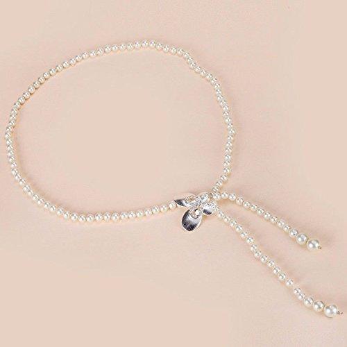Saibangzi Damen Perlengürtel Metall Taille Kette mit Rock Dekoration Kette Gürtel schmaler Gürtel silber / 110 cm hohle Schleife