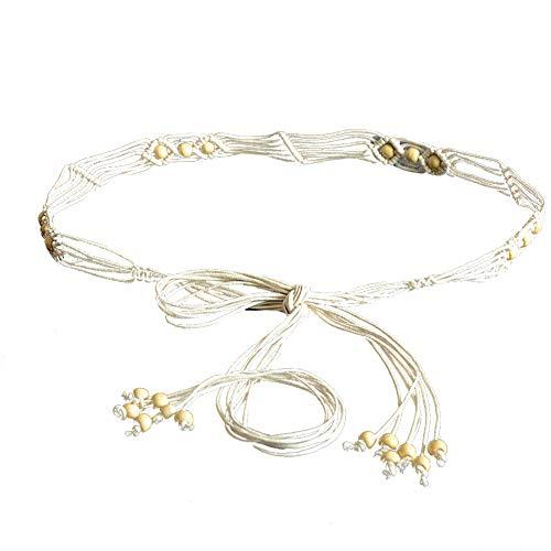 KaariFirefly Bohemia handgefertigte Perlen geflochtenes Seil Taillengürtel Gürtel Schlanker Bund Kleid Dekor, weiß
