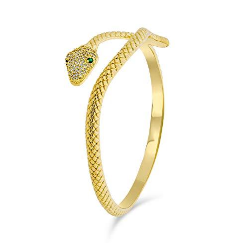 Bling Jewelry Ägyptische Schlange Stil Wickeln Schlange Grünes Auge Cz Zirkonia Bypass Armreif Armband Für Frauen 14K Vergoldet BHS