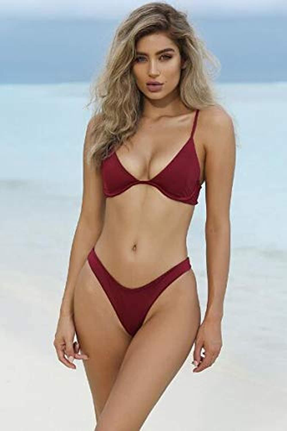 Brazilian Bikinis Women Swimsuit 2018 Padded Beach Wear Halter Bikini Set Push up Swimwear Bathing Suit Swimming color Red Size S