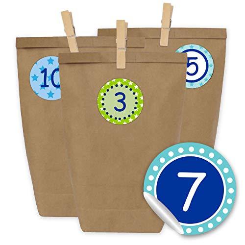Calendrier de l'Avent 24 Sacs en Papier avec Autocollants et 24 Pinces en Bois - Motif Turquoise Vert à Motifs - 13