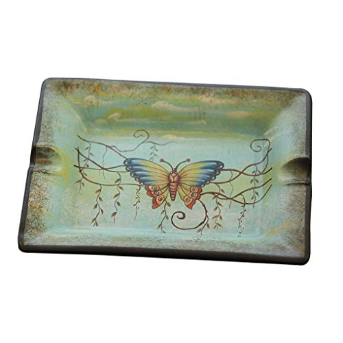 yunyu Cenicero Chino Sala de Estar Creativa Mesa de Centro Cenicero pequeño Tejido casero Personalizado Dream Butterfly Cenicero de cerámica Decoración (Color: Azul Claro, Tamaño: F)
