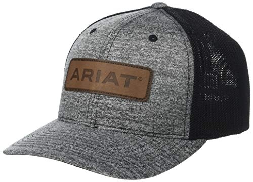 ARIAT Leather Logo Patch Flexfit Cap Heather Grey/Black SM/MD