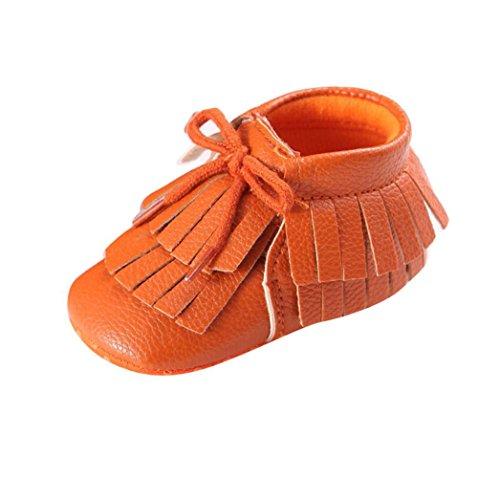 Voberry Baby Girls Crib Shoes Toddler Slip on Loafers Tassel Prewalker PU Moccasins (0~6 Month, Orange)