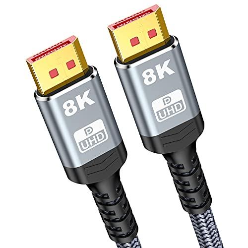 8K DisplayPort Kabel 2m- Snowkids DP 1.4 Kabel,VESA-Zertifiziert, 8K@60Hz, 4K@144Hz, 2K@165Hz Übertragungsraten von bis zu 32,4 Gbit/s Nylon Geflecht DP Kabel für Laptop PC TV Beamer Spielmonitor usw.