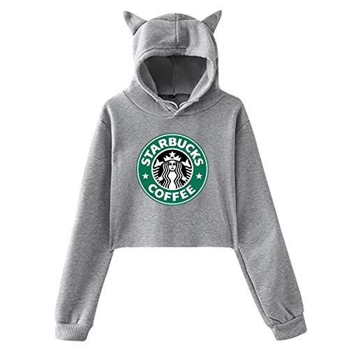Womens Casual Cool Classic Logo Cat Ear Sweater for Girls Fashion Long Sleeve Cotton Hoodies for Teens Crop Top Hoodie Gray