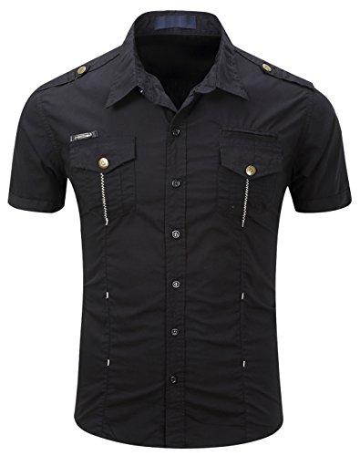 Men's Military Stylish Button Front Slim Fit Short Sleeve Cotton Shirts (X-Large, S-Black)