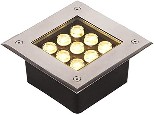 MWKLW Luz LED Cuadrada enterrada IP65 Impermeable Vidrio Templado Fuerte Foco Empotrado de bajo Voltaje Adecuado para Pasillo Cuadrado de Patio de Carretera, 8 Colores 10 Potencia