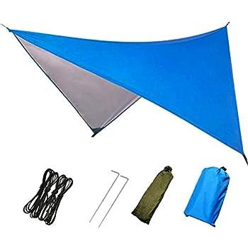 Perfit Bâche de camping imperméable, anti-pluie, anti-mouche, tapis de pique-nique en plein air, tente multifonction, 91 x 83 pouces, bleu