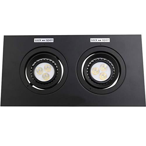 WRMOP LED-paneel, vierkant, dubbel, ultradun, voor woonkamer, veranda, rooster, verlichting, hal, spot, frame zwart R/19/12/28