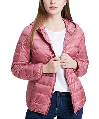 QCHENG Steppjacke Damen Leicht Daunenjacke Packbar mit Kapuze Winter Wärm Kälteschutz Daunenmantel Rosa M