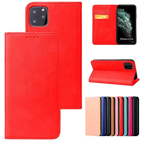 Funda con tapa magnética para iPhone XS, color rojo