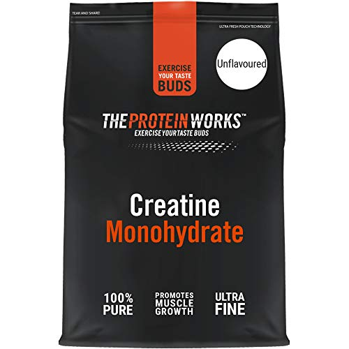 The Protein Works Creatine Monohydrate Powder, 100 Percent Pure, Fine, Unflavoured, 100 Servings, 500 g