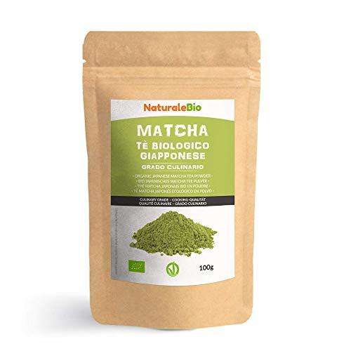 Thé Matcha Bio Japonais de Cuisine [ Qualité Culinaire ] 100 gr. Thé Vert Matcha en Poudre 100% Naturel. Matcha Green Tea Produit au Japon Uji, Kyoto. Pour la Patisseries, Cookies et dans le Lait