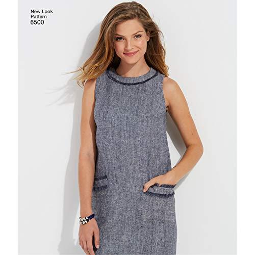 New Look 6500–Cartamodello per Vestiti da Donna, con Collo, Maniche e Tasca Varianti, Bianco
