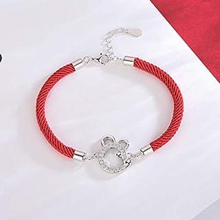 WOkismx Damas S925 Plata Tejida a Mano de la Cuerda roja Pulsera, Galvanizado pequeño ratón de la Cuerda roja Cadena de joyería