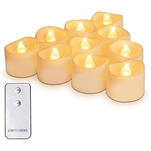 Huante Pack of 12 Sparkling LED Tea Light Candles, Long Lasting Battery Operated LED Candles for Home Decoration, Yellow