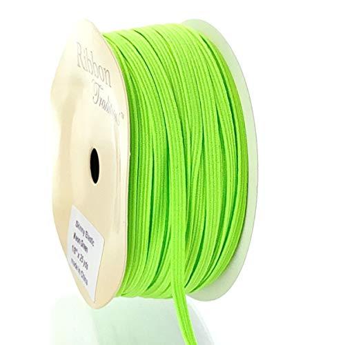 1/8' Width Skinny Elastic Band - Braided Cord - Neon Green 5 Yards - USA Warehouse