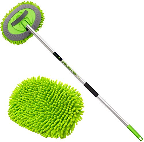 anngrowy 62' Microfiber Car Wash Brush Mop Kit Mitt Sponge with Long Handle Car Cleaning Supplies Kit Duster Wash Car Accessories with 2 Chenille Replacement Head, Scratch Free, Aluminum Alloy Pole