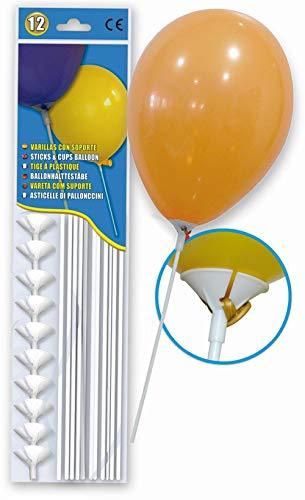12 Tiges en Plastiques pour Ballons 36 cm