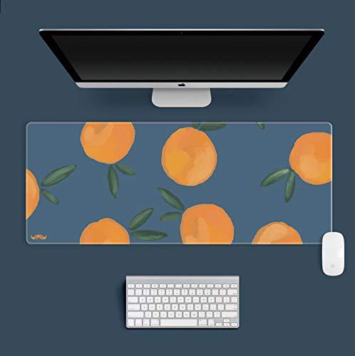 Alfombrilla de ratón para juegos extendida con bordes cosidos, alfombrilla de ratón grande, alfombrilla de teclado con base antideslizante, color naranja 75 x 40 cm