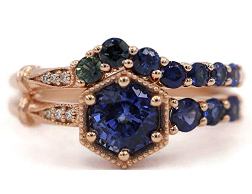 Sapphire Limited price Engagement Rings Set Edwardian One Cluster Max 83% OFF