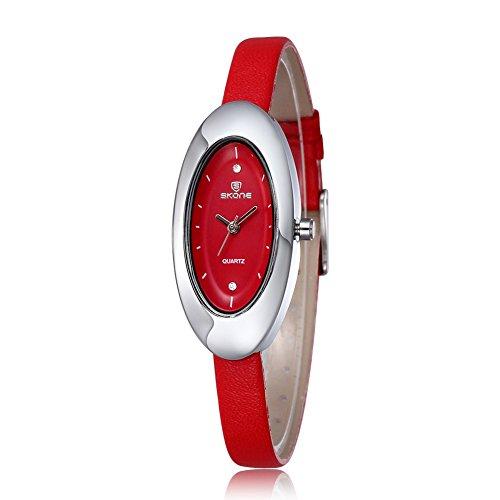 Skone Damen-Uhren mit Strass, ovales Zifferblatt, rotes Lederband