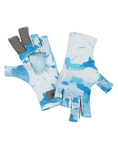 Simms SolarFlex UPF 50 Fingerlose Angelhandschuhe Unisex Cloud Camo Blau M